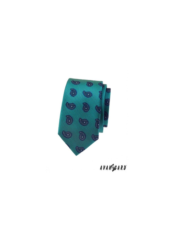 zelena slim kravata s modrym vzorem avsl62304