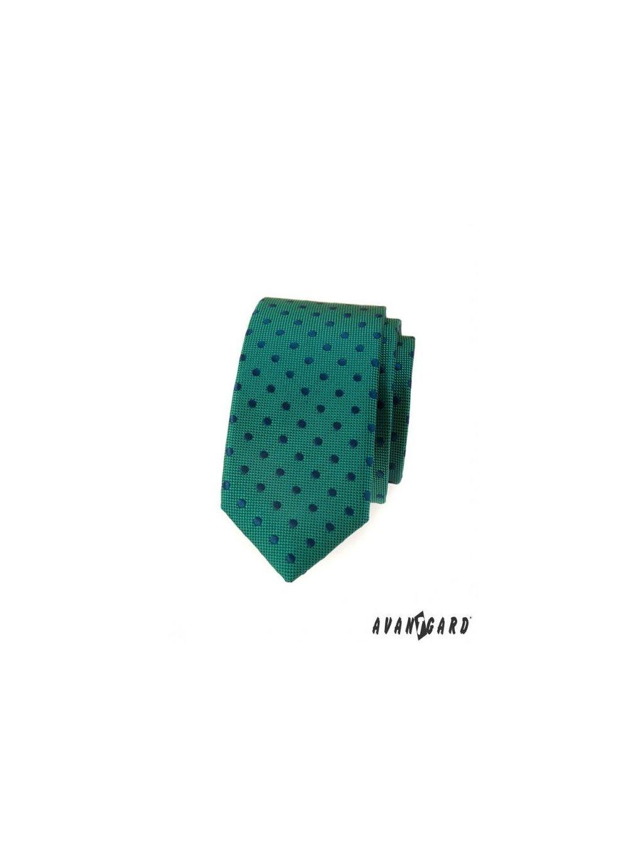 zelena slim kravata s modrymi puntiky