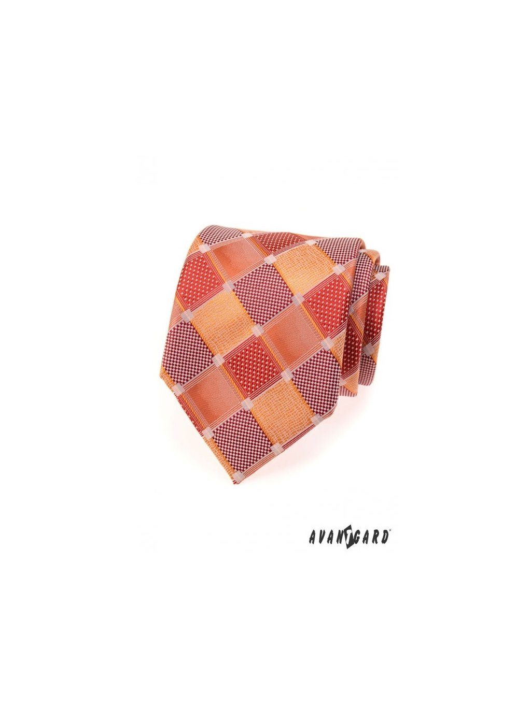oranzova kostkovana panska kravata av80702