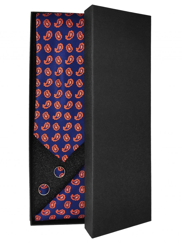 Modrá pánská kravata s oranžovým vzorem - Dárková sada
