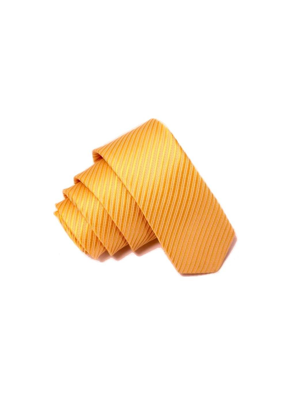 Žlutá slim kravata s proužkem