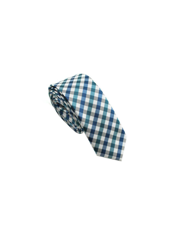 Bílá úzká slim kravata se zeleno-modrým károvaným vzorem