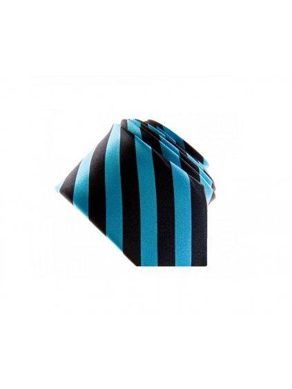 Tyrkysová úzká slim kravata s černými pruhy