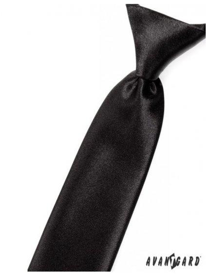Černá jemně lesklá dětská kravata na gumičku