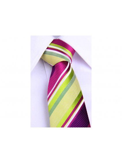 1906 fialova hedvabna slim kravata se zelenymi pruhy