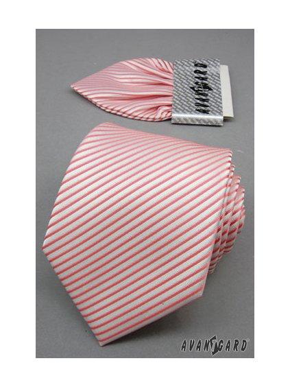 Bílá svatební kravata s růžovými pruhy + kapesníček do saka