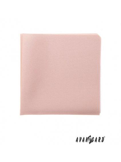 Pudrový jednobarevný luxusní kapesníček do saka