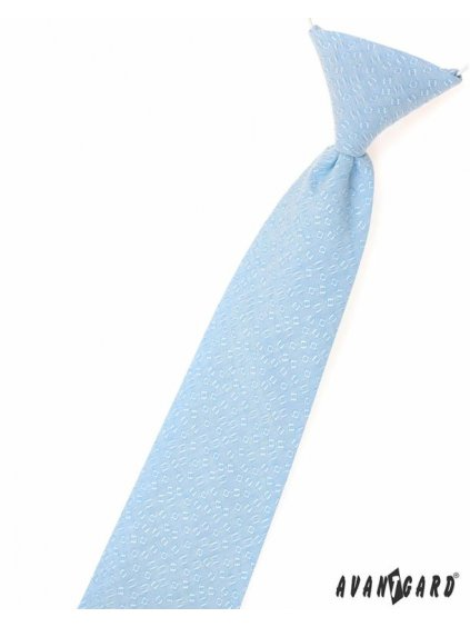 Světle modrá dětská kravata na gumičku se vzorkem