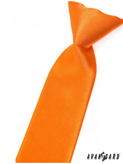Oranžová lesklá dětská kravata na gumičku
