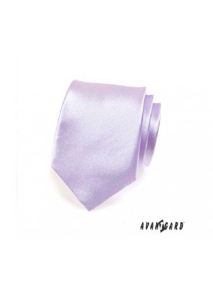 Světle fialová jednobarevná lesklá kravata