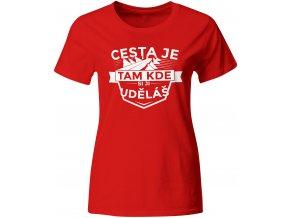 Dámské tričko Cesta, červené