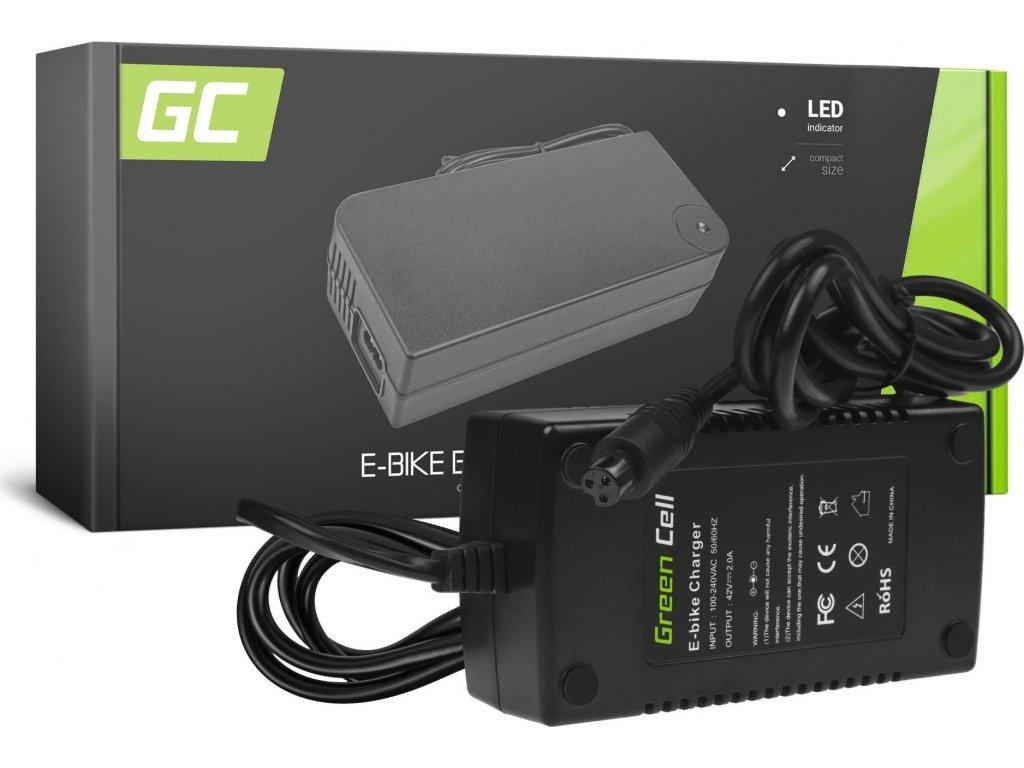 Nabíjačka Green Cell 42V 2A pre batérie do elektro bicyklov 36V