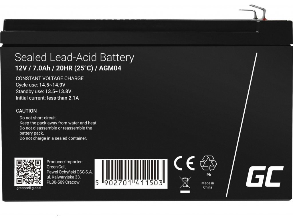 Batéria AGM Green Cell 12V 7Ah