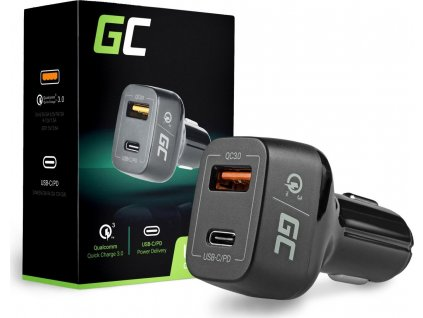Auto nabíjačka Green Cell USB-C Power Delivery + USB Quick Charge 3.0