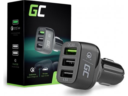 Auto nabíjačka Green Cell 3xUSB s rýchlym nabíjaním Quick Charge 3.0