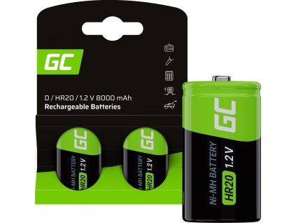 Nabíjateľné batérie 2x D R20 HR20 Ni-MH 1.2V 8000mAh Green Cell