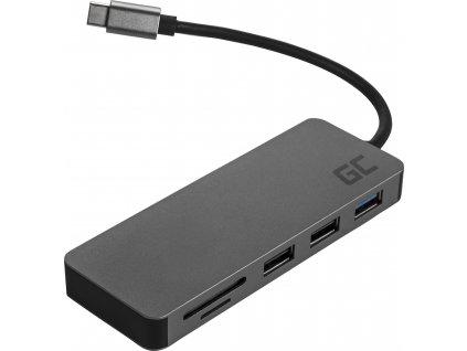 HUB Adaptér Green Cell USB-C 7 w 1 (USB-C, 2xUSB 3.0, USB 2.0, HDMI 4K, microSD, SD) s obsluhou Power Delivery a Samsung DeX