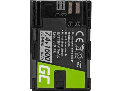 Batéria LP-E6 do fotoaparátu Canon EOS 70D, 5D Mark II/ III, 80D, 7D Mark II, 60D, 6D, 7D 7.4V 1600mAh