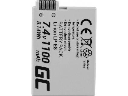 Batéria LP-E8 do fotoaparátu Canon EOS Rebel T2i, T3i, T4i, T5i, EOS 600D, 550D, 650D, 700D, Kiss X5, X4, X6 7.4V 1100mAh