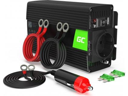 Automobilový menič napätia Green Cell® 12V na 230V Čistá sínusoida 500W