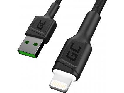 Kábel USB - Lightning Biely LED 120cm pre Apple 2.4A