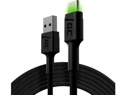 Kábel GC Ray USB - USB-C 200cm so zeleným LED podsvietením, rýchle nabíjanie Ultra Charge, QC 3.0