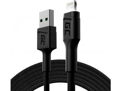 Kábel Green Cell GC Ray USB - Lightning 200cm z s bielym podsvietením LED, rýchle nabíjanie Apple 2.4A