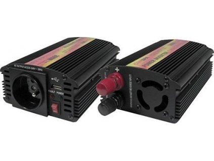 Menič napätia Carspa CAR300U-12 12V/230V+USB 300W, modifikovaná sinusoida