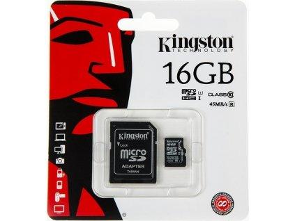 Pamäťová karta Kingston microSD 16GB Class 10 45MB/s + Adaptér SD
