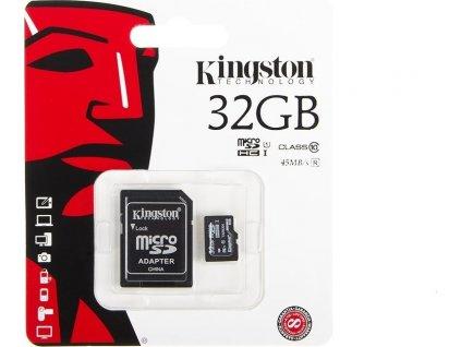 Pamäťová karta Kingston microSD 32GB Class 10 45MB/s + Adaptér SD