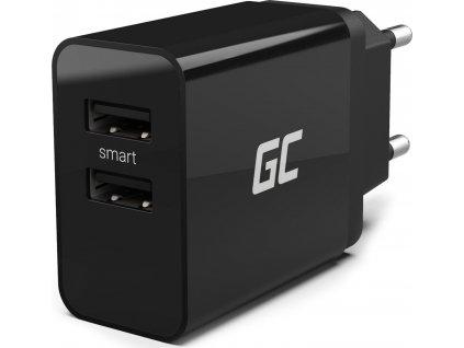 Univerzálna sieťová nabíjačka Green Cell s funkciou rýchleho nabíjania, 2 porty USB