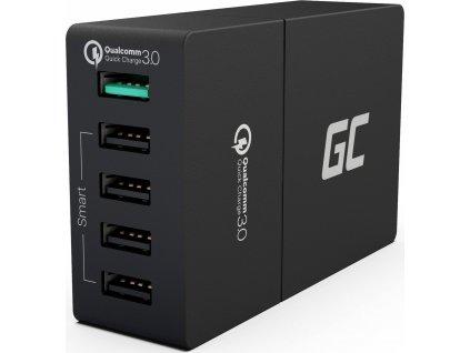 Univerzálna sieťová nabíjačka Green Cell s funkciou rýchleho nabíania, 5 portov USB, QC 3.0