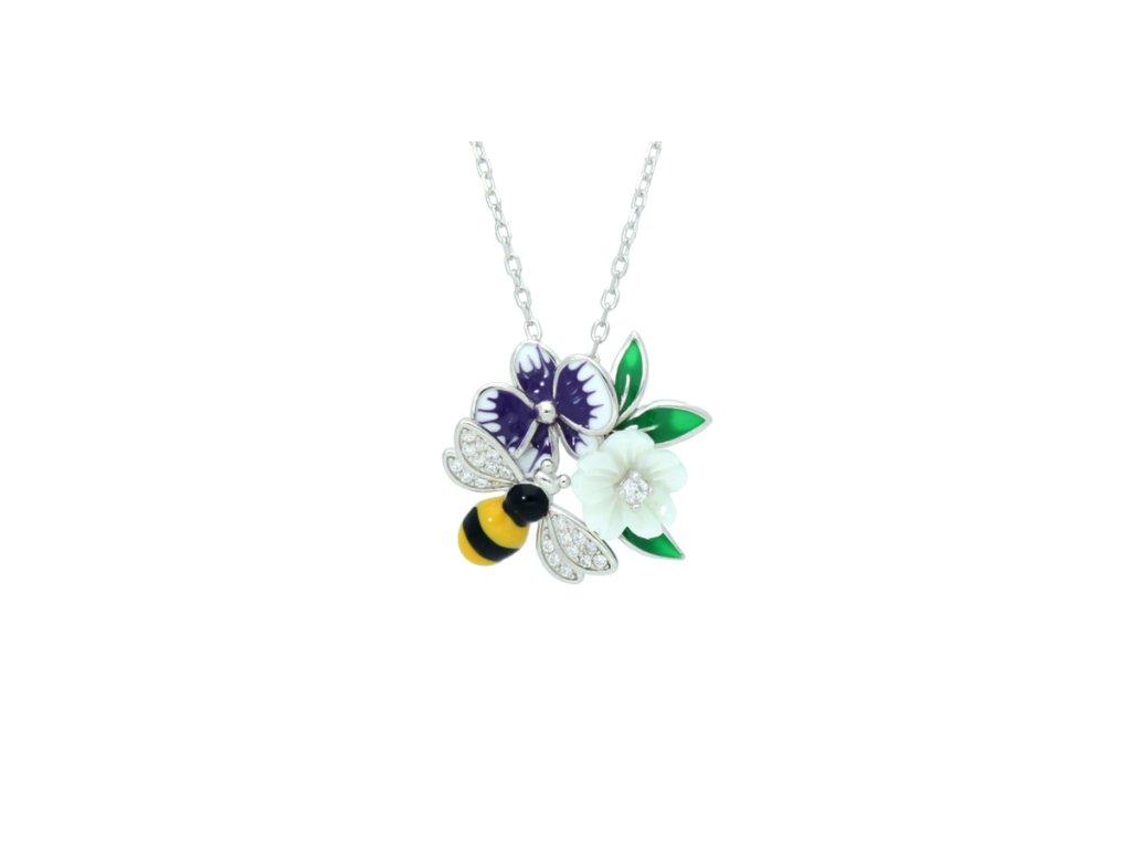 Stříbrný řetízek Blooming Violet s motivem včelky