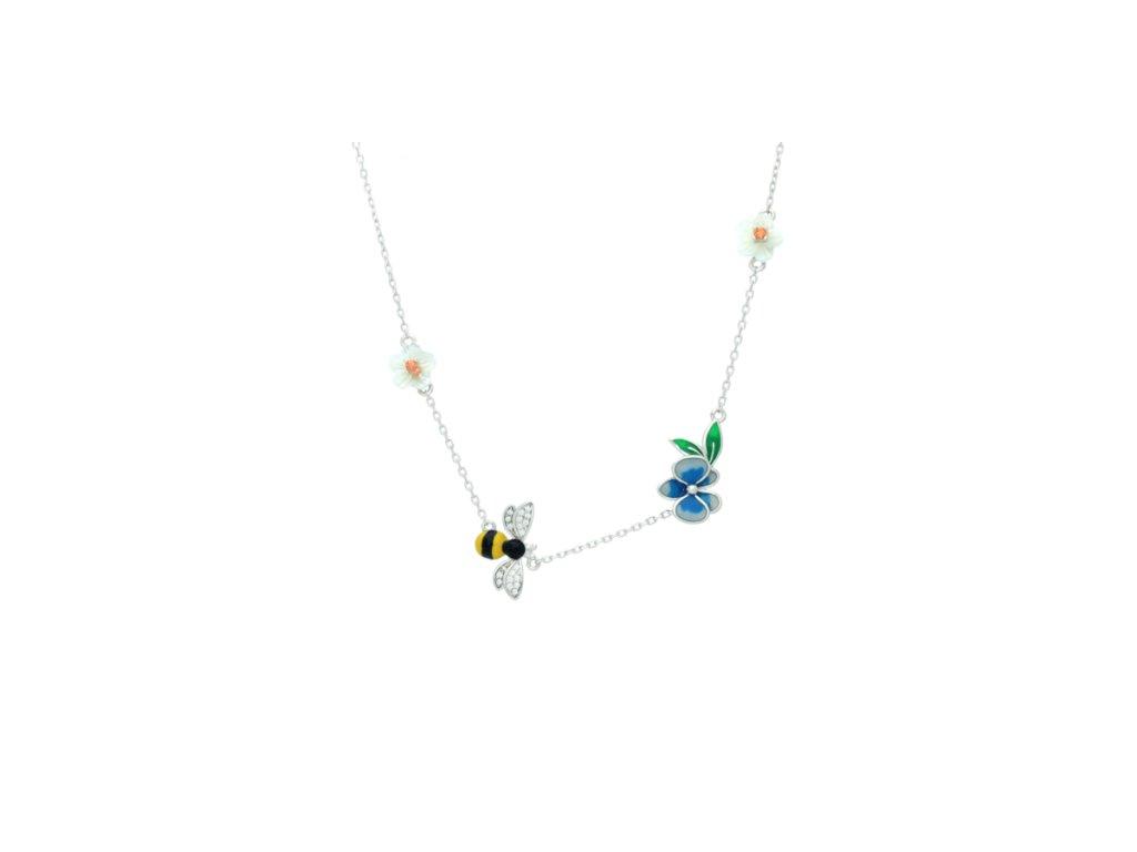 Stříbrný náhrdelník Eden Blooming Violet zdobený včelkou a květinami