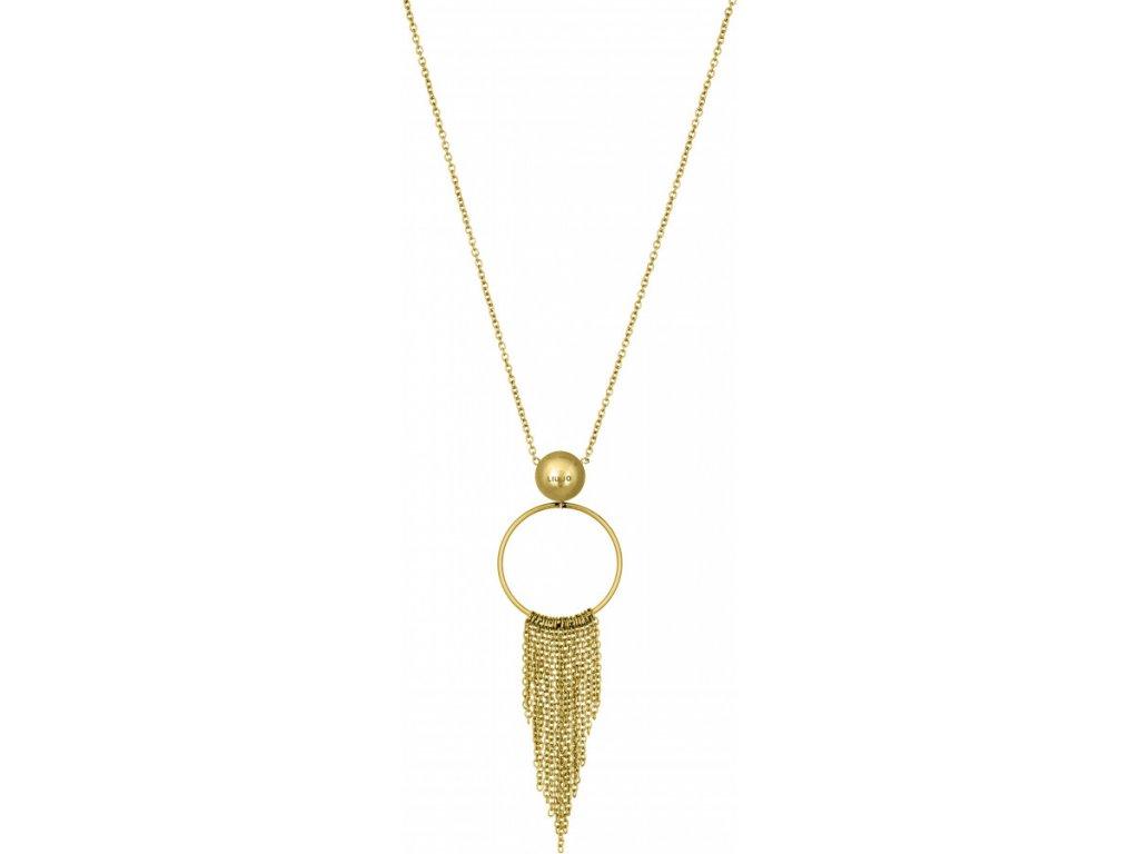 Pozlacený náhrdelník LIU JO LJ1226 z chirurgické oceli s třásněmi