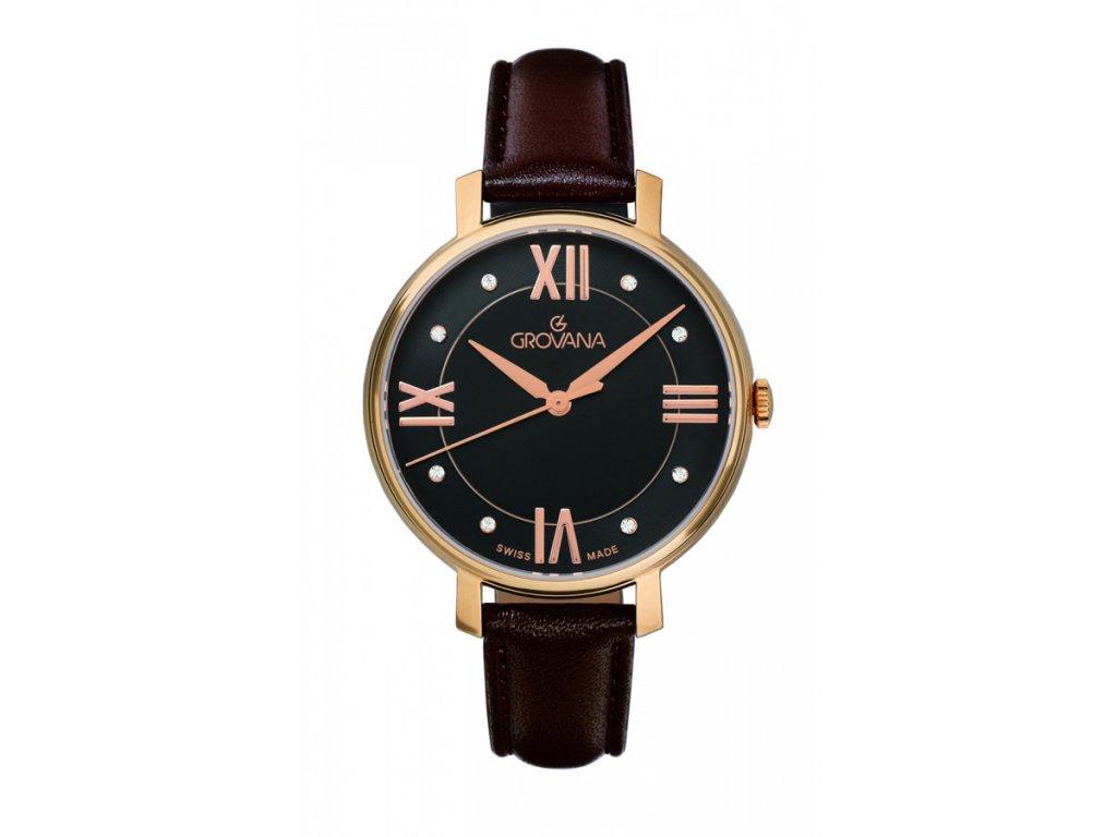 Dámské hodinky Grovana 4441.1567 s hnědým koženým řemínkem