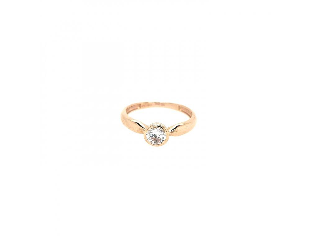 Dámský prsten z růžového zlata se zirkonem 585/1000
