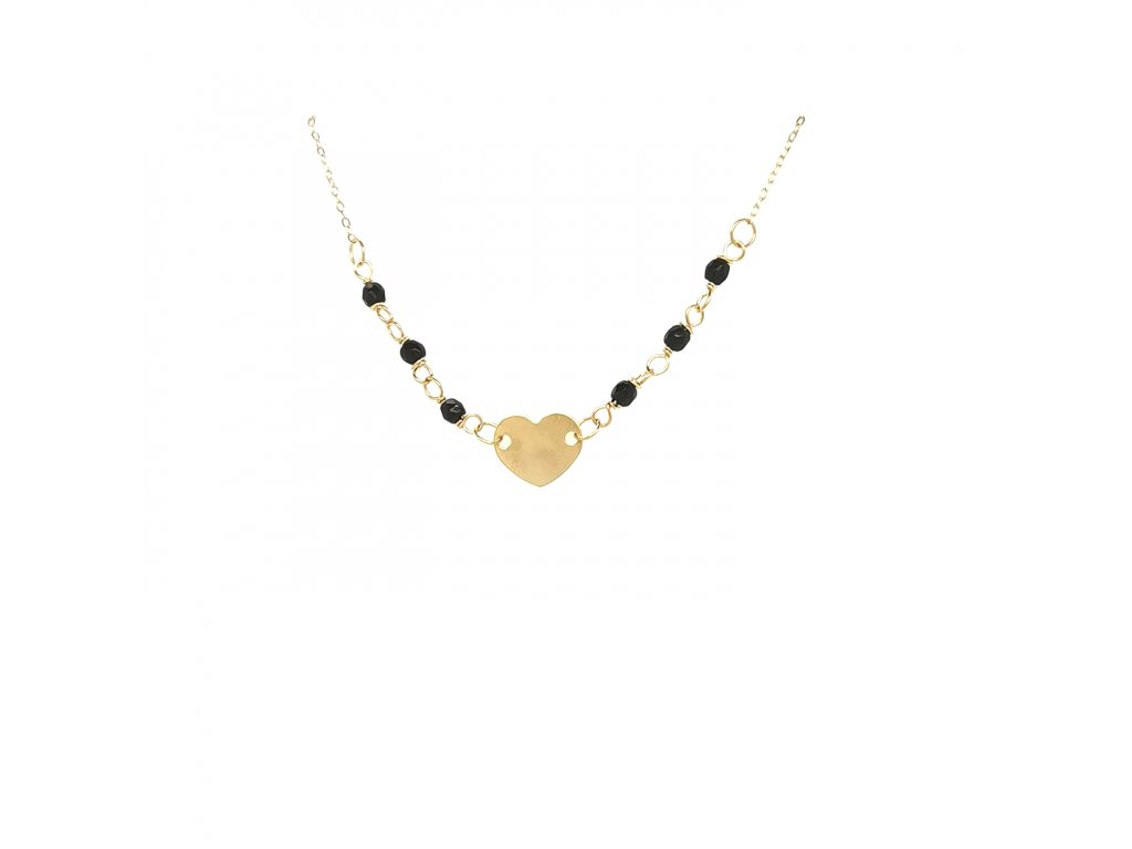 Řetízek ze žlutého zlata 585/1000 s motivem srdce a černými korálky