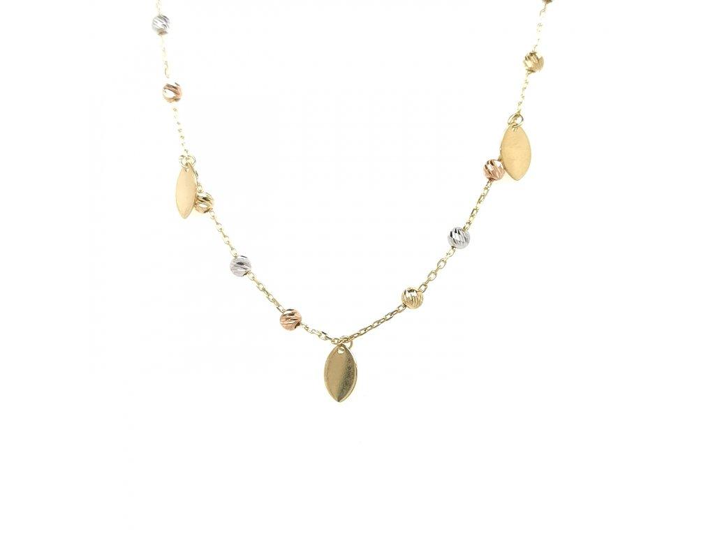 Řetízek ze žlutého zlata 585/1000 s přívěsky