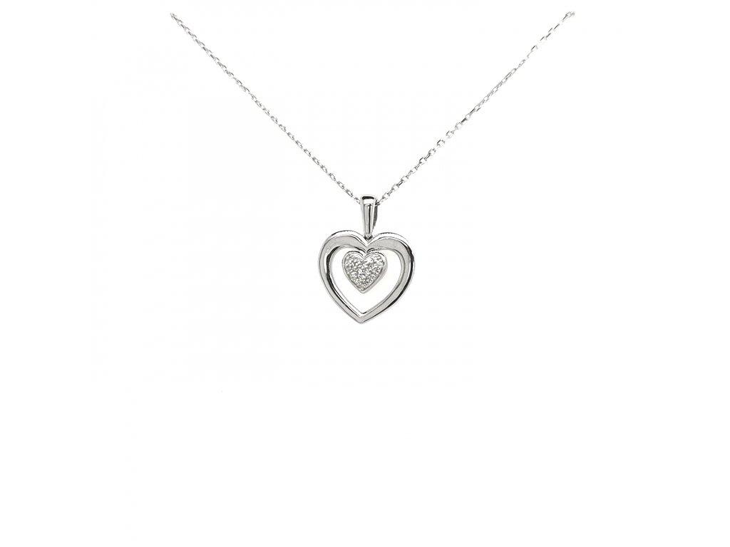 Přívěšek z bílého zlata 585/1000 s brilianty a motivem srdce
