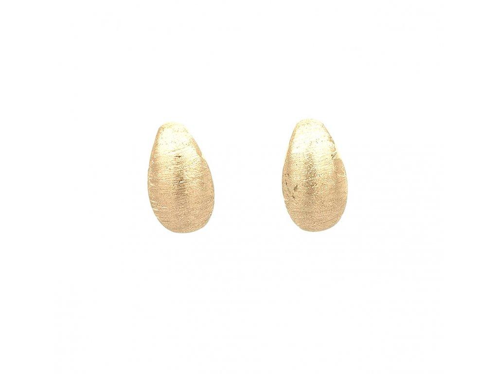 Dámské náušnice ze žlutého zlata 585/1000 s gravírováním
