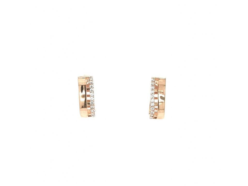 Dámské náušnice z růžového zlata 585/1000 se zirkony