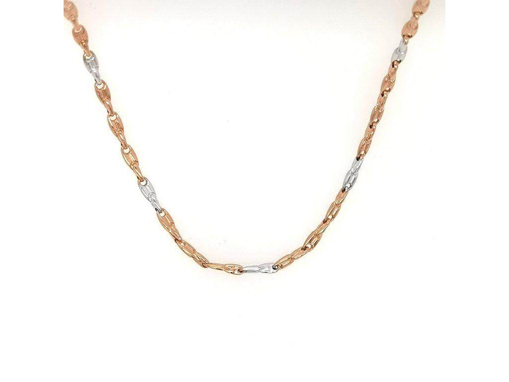 Dámský náhrdelník z růžového zlata 585/1000 s kombinací bílého zlata