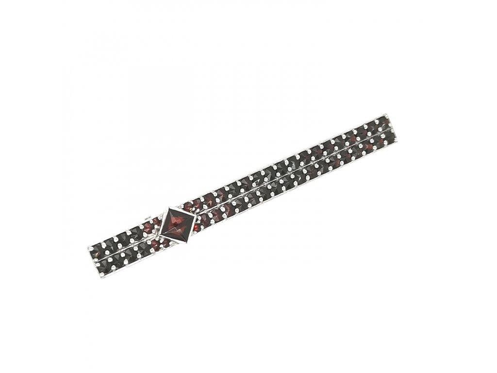 Stříbrná kravatová spona s českým granátem 925/1000