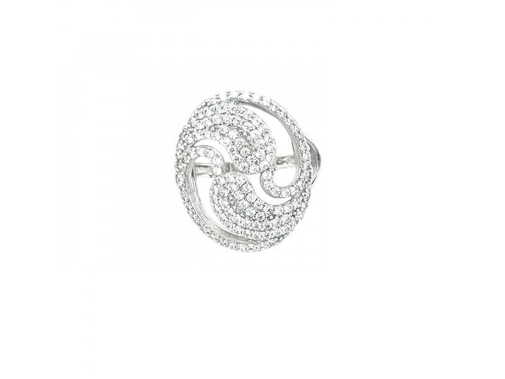 Dámský stříbrný prsten 925/1000 se zirkony a velkou ozdobou
