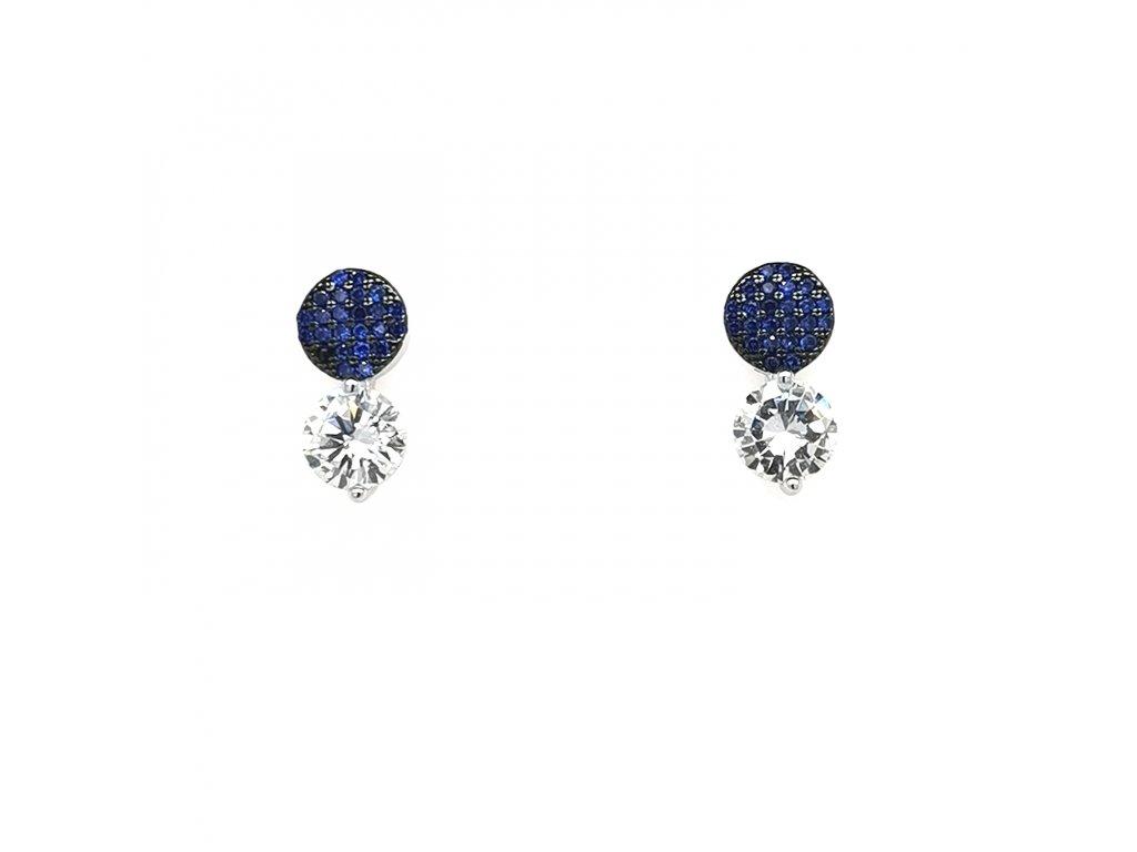 Dámské stříbrné náušnice 925/1000 s modrými zirkony