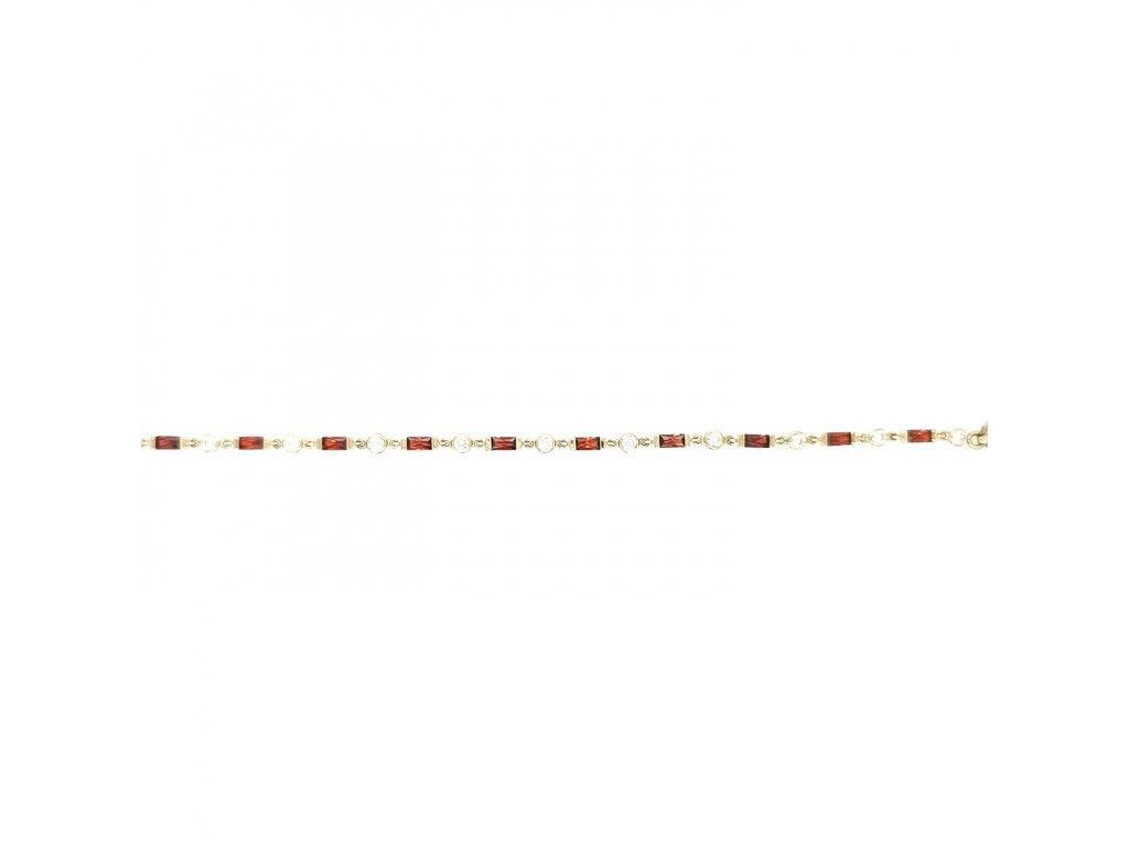 Dámský náramek ze žlutého zlata 585/1000 zdobený červenými a bílými zirkony