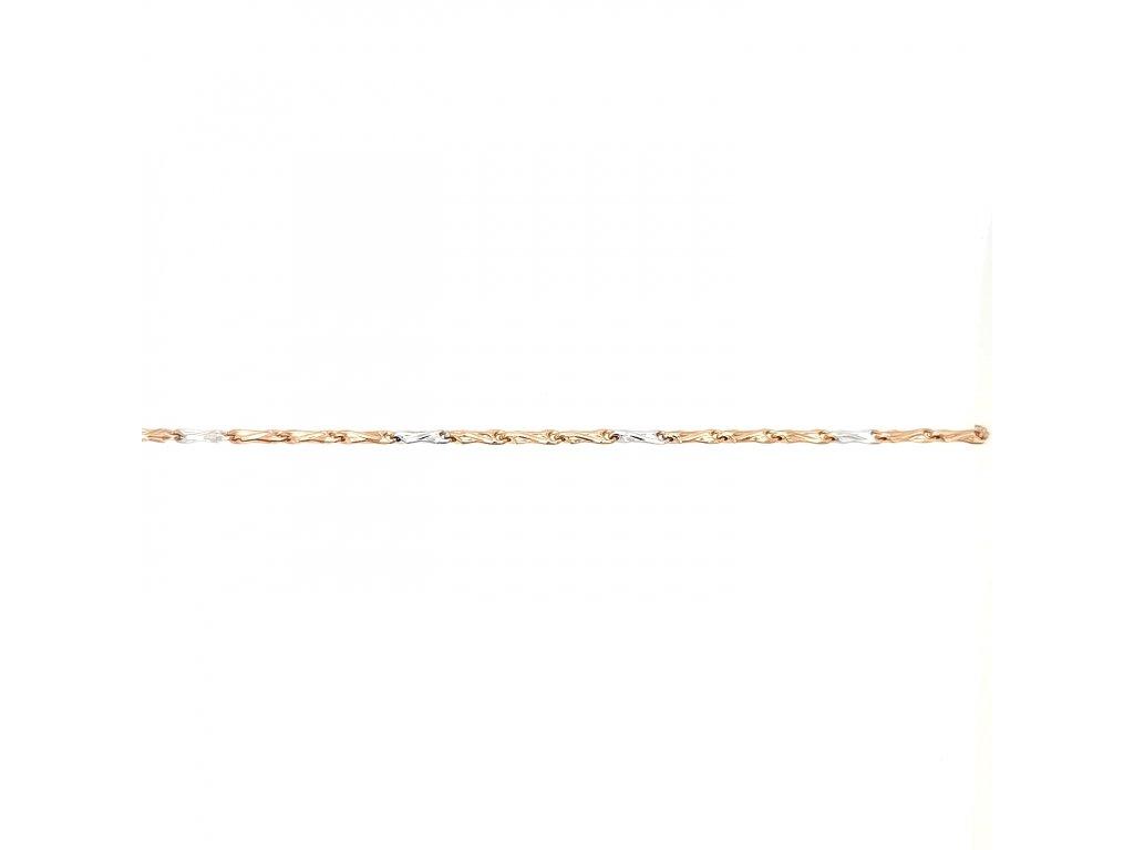 Dámský náramek z růžového zlata 585/1000 v kombinaci s bílým zlatem