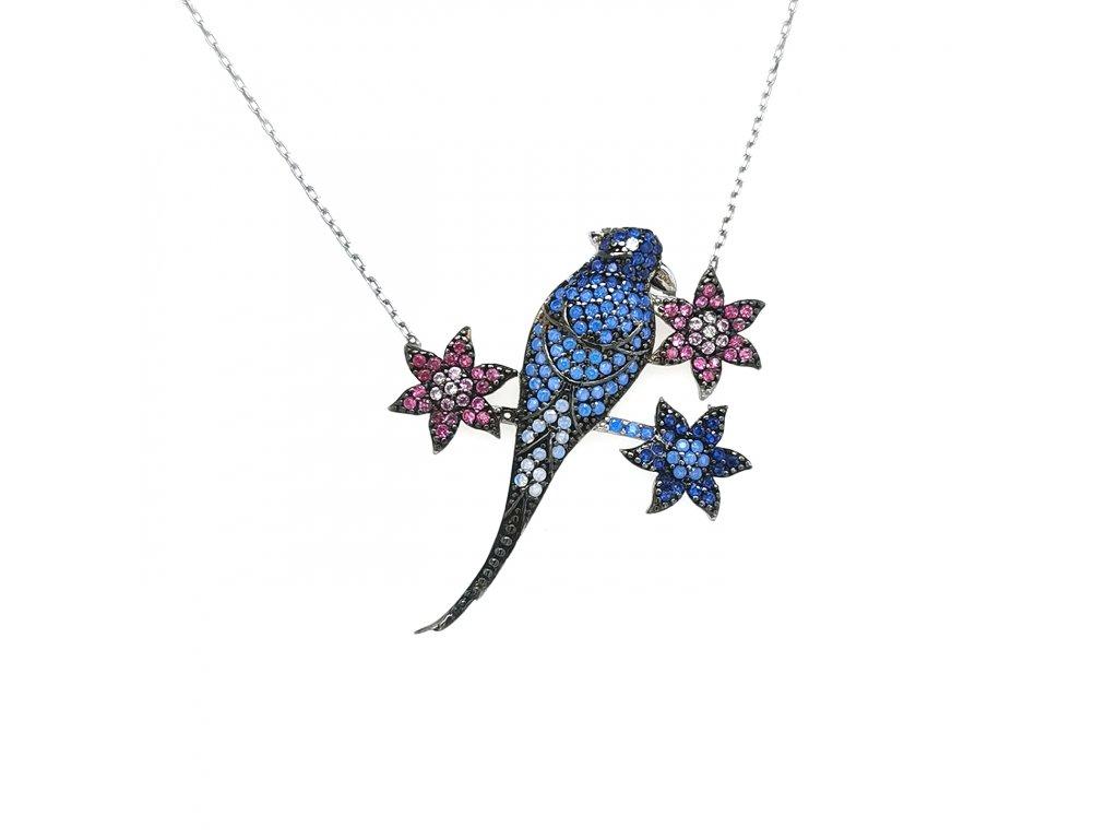 Dámský stříbrný náhrdelník 925/1000 se zirkony a motivem ptáčka