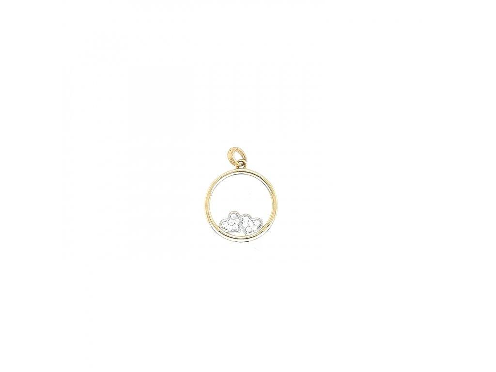 Dámský přívěšek ze žlutého zlata 585/1000 se zirkony a srdíčky